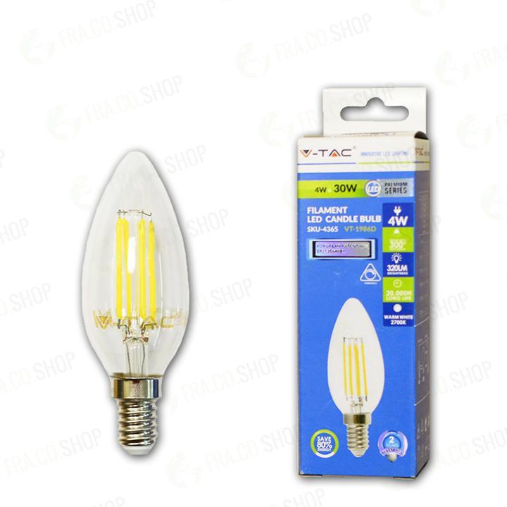 V-TAC Lampadina led - 4w filamento crociato e14 a candela bianco caldo dimmerabile 2700k