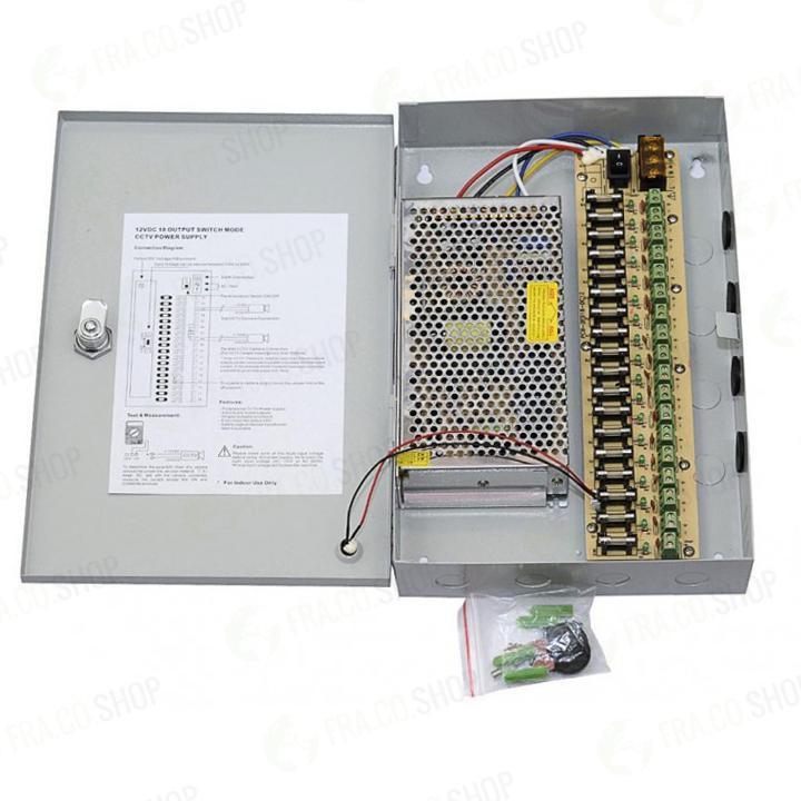 Box 18 canali alimentatore Alimentatore centralizzato per impianti di videosorveglianza