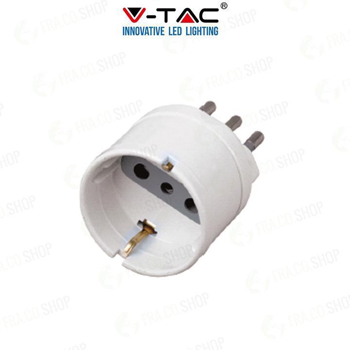 V-TAC Adattatore spina 10a presa 2p+t 10a schuko