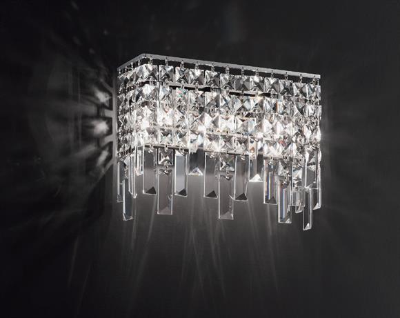 Affralux frange applique rettangolare con cristalli area illumina
