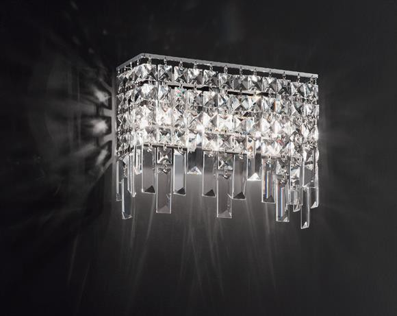 Affralux frange applique quadrata cm con cristalli area illumina