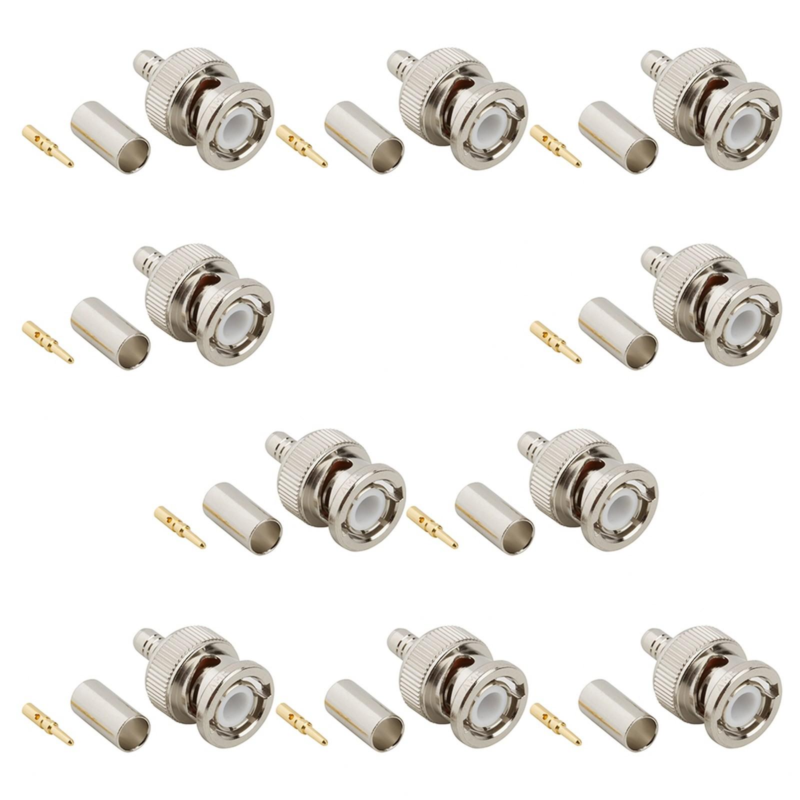 10 Adattatore Connettore BNC per Cavo Coassiale RG59 a Crimpare CCTV Telecamera - Area Illumina