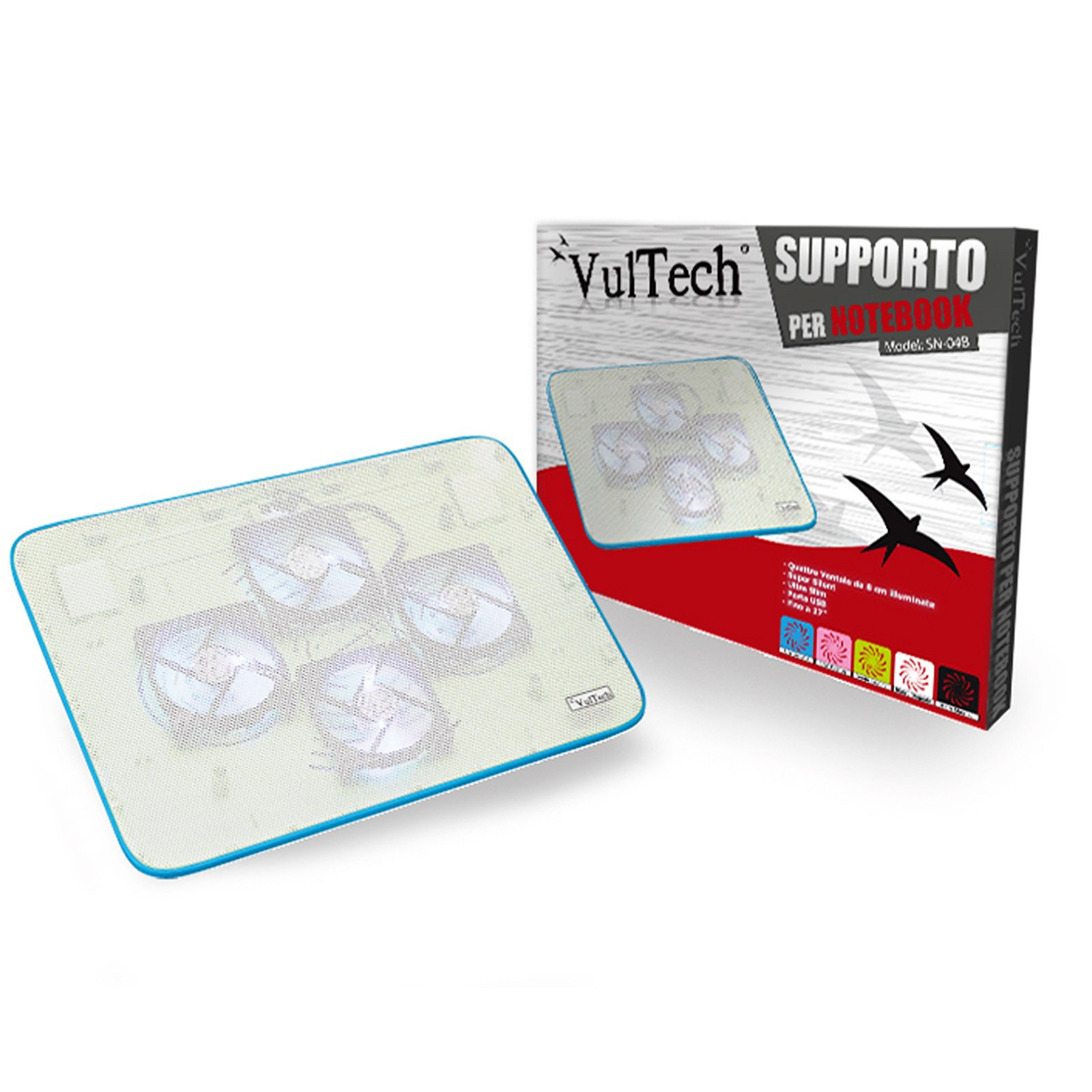 "SUPPORTO PER NOTEBOOK VENTOLA VULTECH PC PORTATILE RAFFREDDAMENTO 15,6"" BLU NEW"