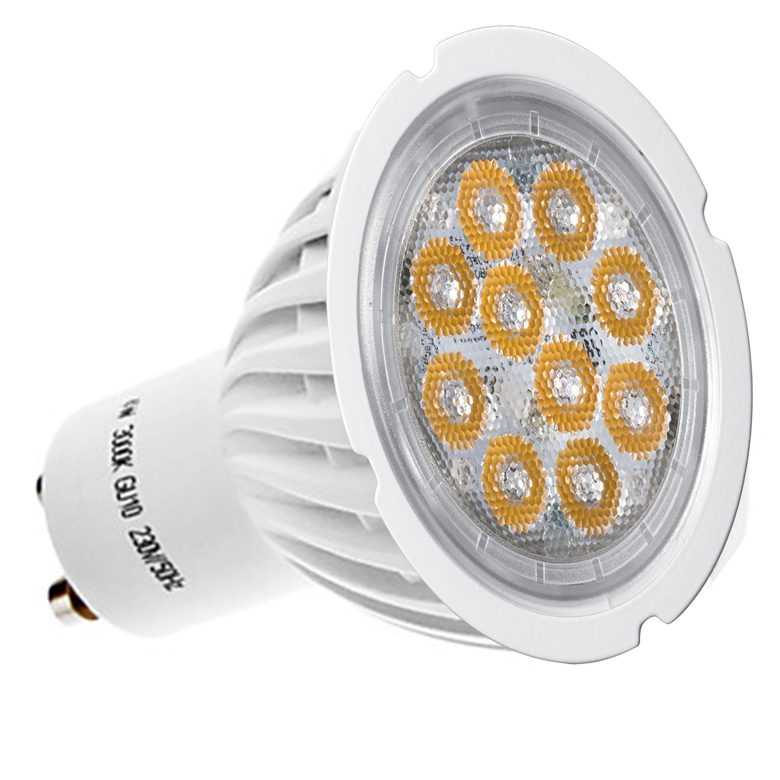 LAMPADINA LAMPADA FARO FARETTO A 10 LED SPOT GU10 6W LUCE FREDDA SMD 300 LUMEN