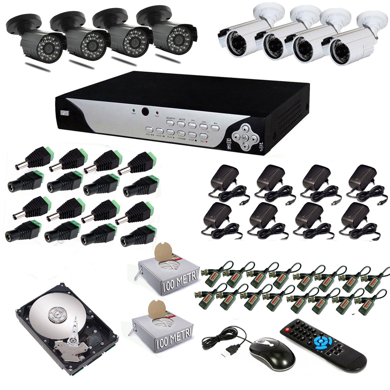 KIT DVR 8 TELECAMERE 600 TVL VIDEOSORVEGLIANZA LAN HD 500GB BALUN ANDROID IPHONE Vultech Life ...