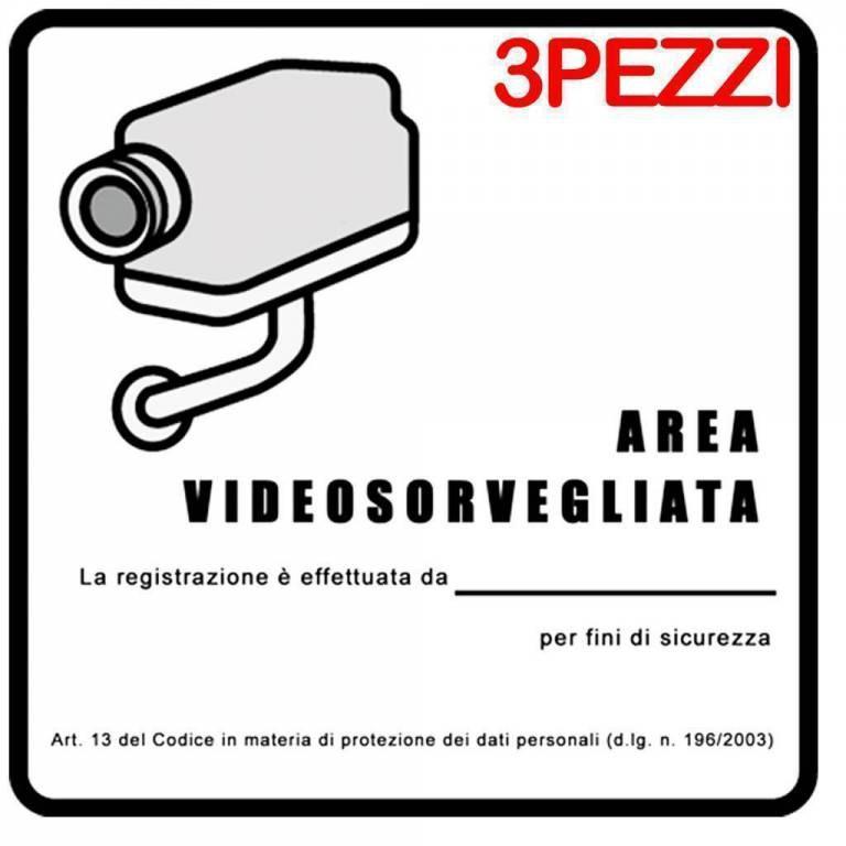 3PZ CARTELLO TARGA 16X16 CM AREA VIDEOSORVEGLIATA SOTTOPOSTA A VIDEOSORVEGLIANZA