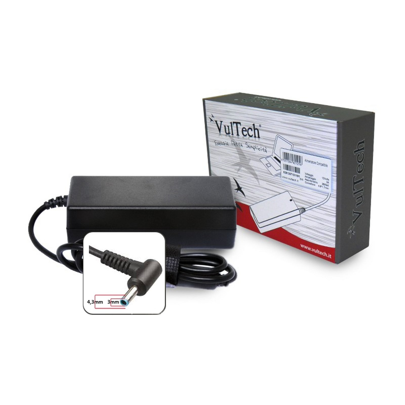 Alimentatore Caricabatterie Notebook HP ENVY 90W 4,62A 19.5v VULTECH HP195462X