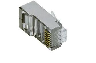 Spina PLUG RJ45 Schermata 8P/8C Contatti Dorati, per cavo FTP CAT6 fili rigidi
