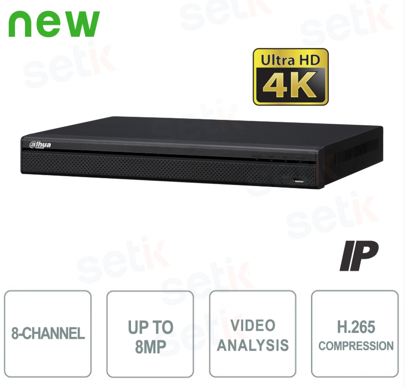 NVR IP 8 CANALI H.265 4K 8MP 200MBPS VIDEO ANALISI - DAHUA - NVR4208-4K
