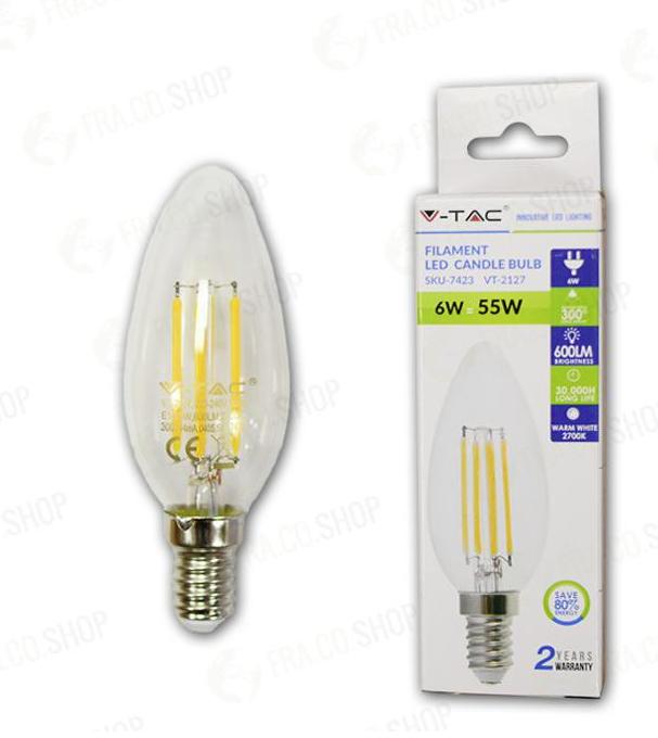 LED LAMPADINA - 6W FILAMENTO E14 CLEAR COVER CANDLE 6400K