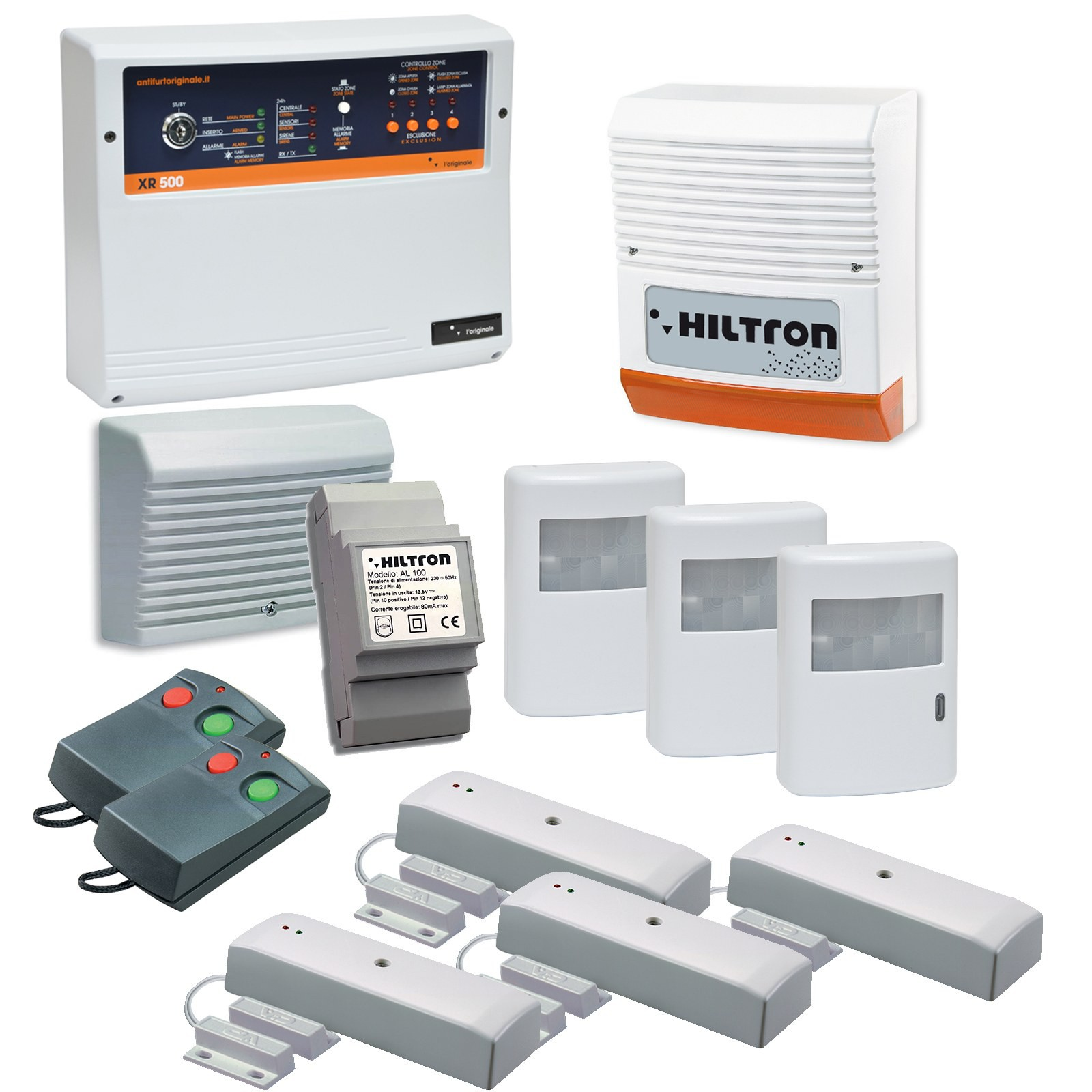 Antifurto allarme casa kit wireless senza fili hiltron kd5007 sirena sensori pir area illumina - Allarme per casa senza fili ...