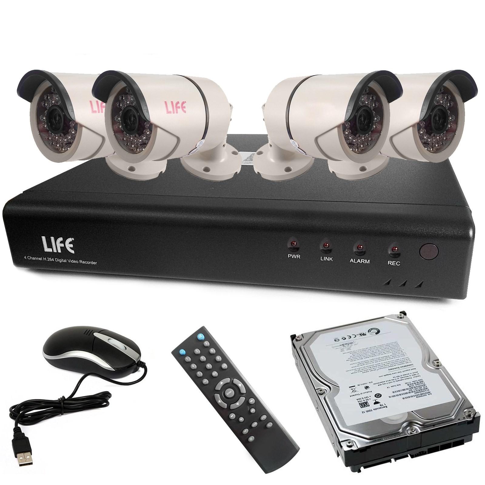 Kit DVR Videosorveglianza TvCC 4 Canali HD 720P LIFE Telecamere Hard disk 1 Tera Vultech Life ...