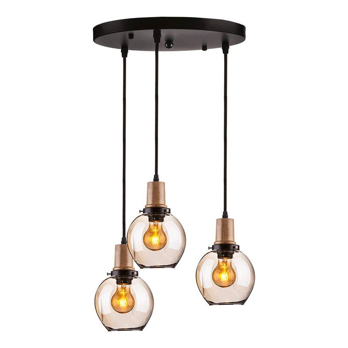 V-TAC E27 trio glass pendant lampholder with glass lampshade-amber