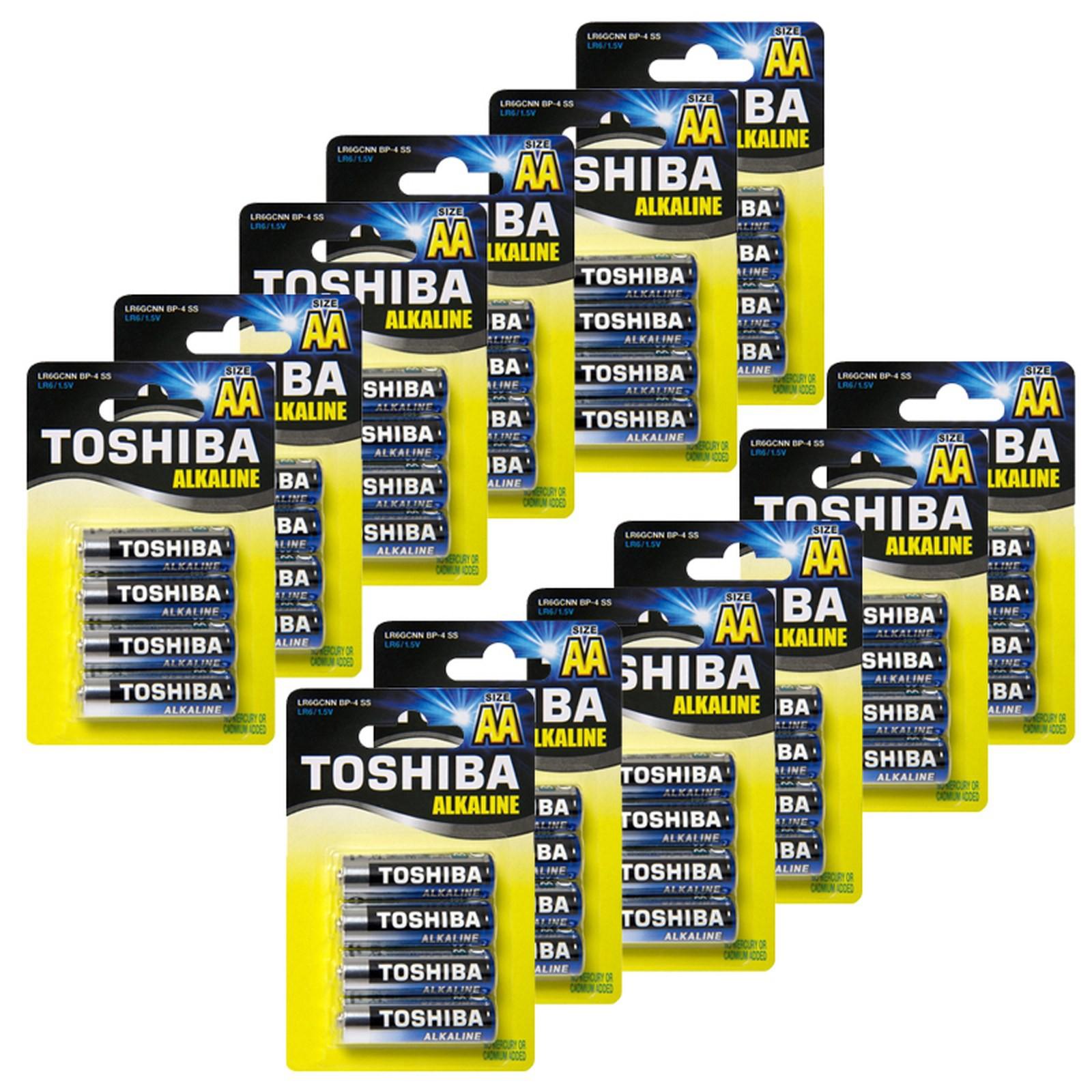 48 Batterie Pile STILO AA TOSHIBA Alkaline Alcaline Blue Line LR6 1.5V Batteria