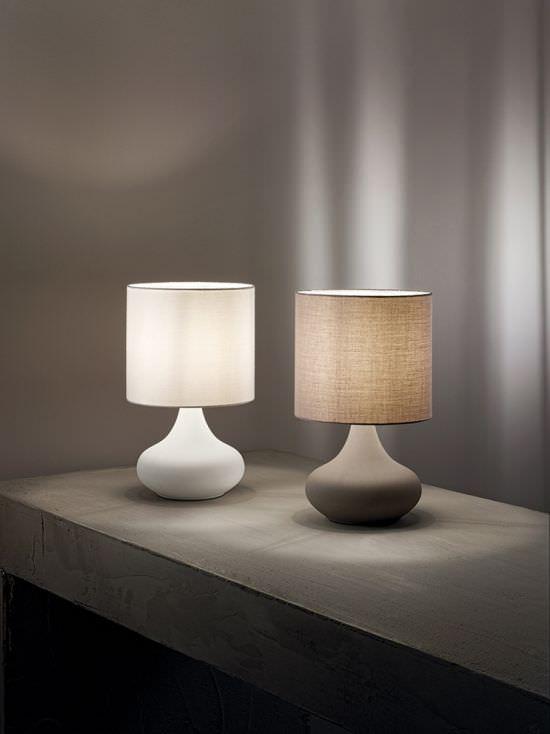 PERENZ Lampada in metallo bianco con paralume in stoffa