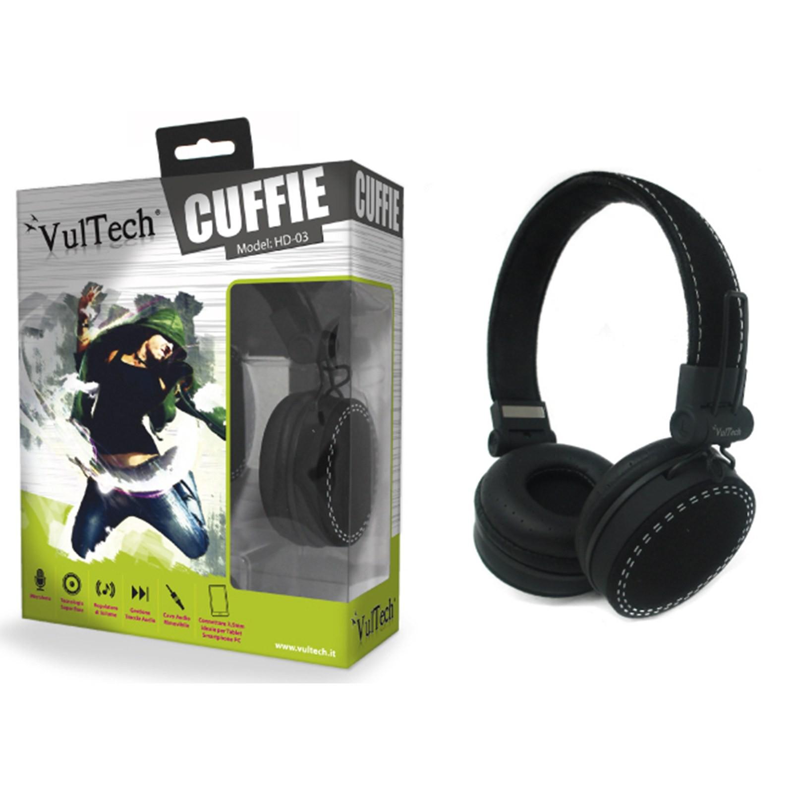 CUFFIE IPOD IPHONE HEADPHONES PER STEREO PC MUSICA MP3 GAME CD DVD NERA VULTECH