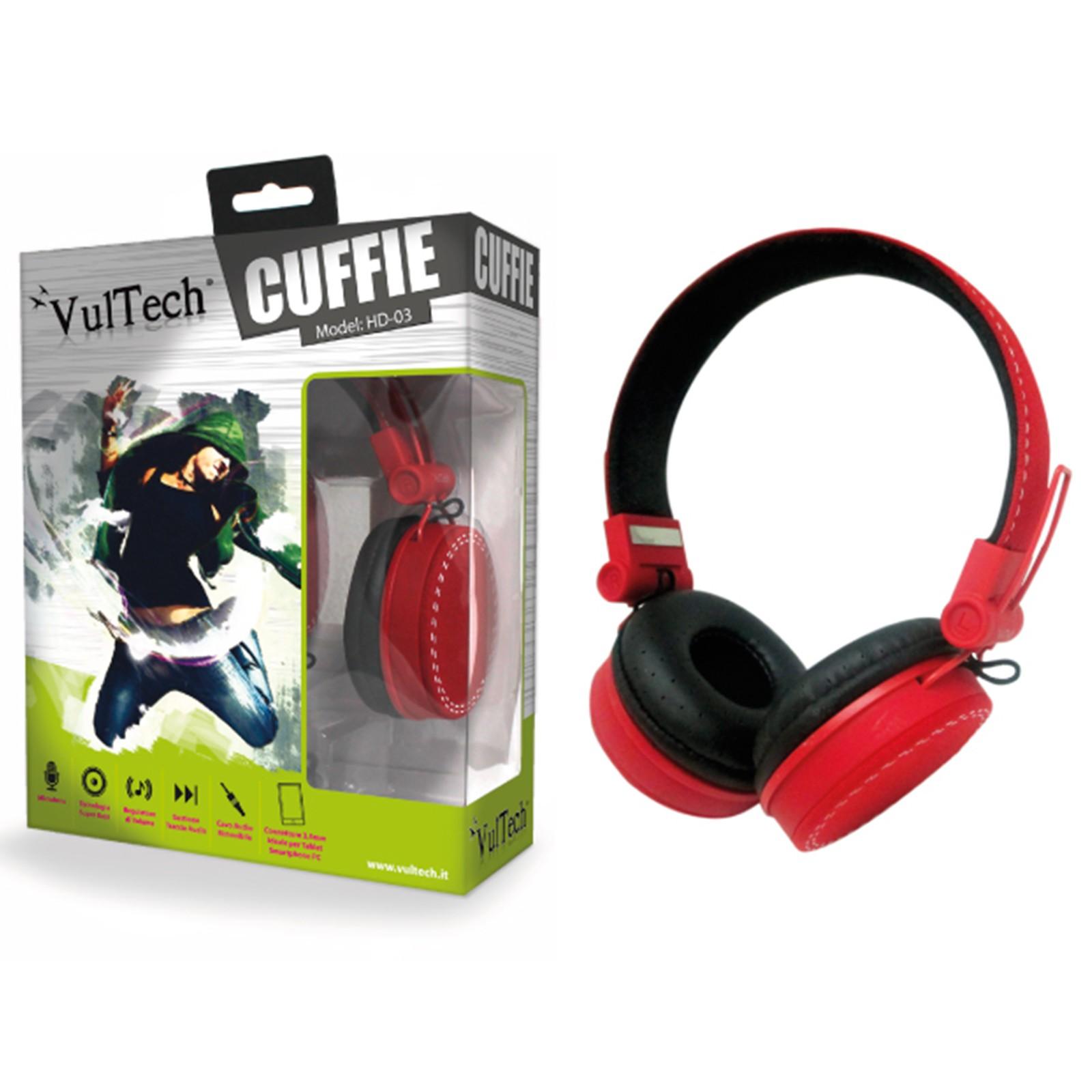CUFFIE IPOD IPHONE HEADPHONES PER STEREO PC MUSICA MP3 GAME CD DVD ROSSE VULTECH