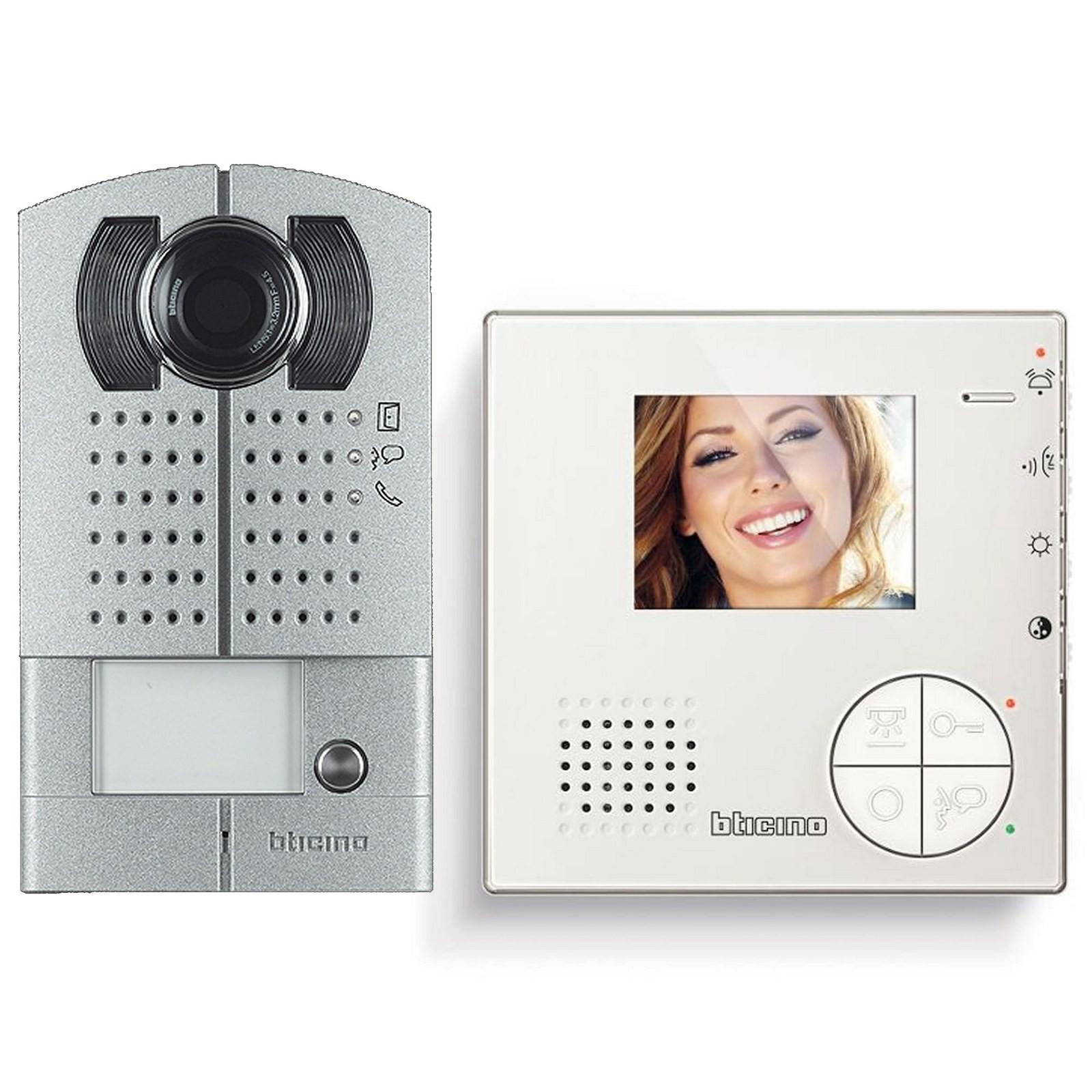 kit videocitofono monitor video colori 2 fili bticino