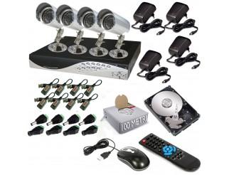 KIT DVR 4 CANALI REGISTRATORE H264 LAN VIDEOSORVEGLIANZA + HD + TELECAMERA CCD