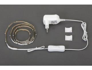 STRISCIA LED, materiale plastico, bianco, flessibile, autoadesiva