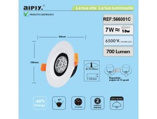 Faretto a Incasso a Molla Orientabile LED 7W Luce Fredda Aiply 566001C