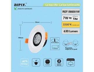 Faretto a Incasso a Molla Orientabile LED 7W Luce Calda Aiply 566001W