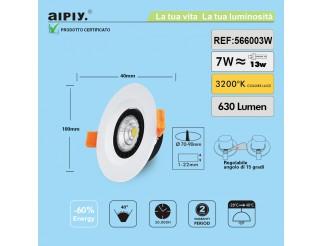 Faretto a Incasso a Molla Orientabile COB LED 7W Luce Calda Aiply 566003W