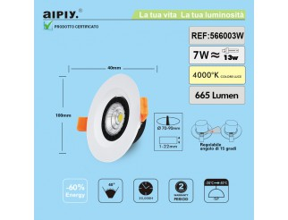 Faretto a Incasso a Molla Orientabile COB LED 7W Luce Naturale Aiply 566003N