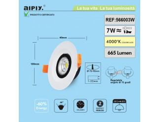 Faretto a Incasso a Molla Orientabile COB LED 7W Luce Naturale Aiply 566003N