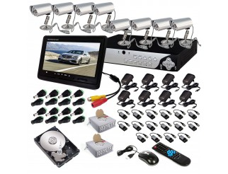 KIT DVR 8 TELECAMERE VIDEOSORVEGLIANZA LAN HD 500GB MONITOR BALUN IPHONE ANDROID