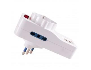 Ciabatta Multipresa Elettrica 3 Posti 2 Porte USB Interruttore VULTECH AT-04