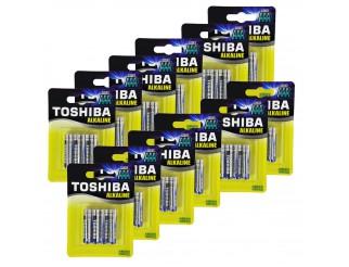 48 Batterie Pile Ministilo AAA TOSHIBA Alkaline Alcaline Blue Line Batteria LR03