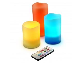 Set 3 Candele Multicolori Candela Luce a led RGB con Telecomando