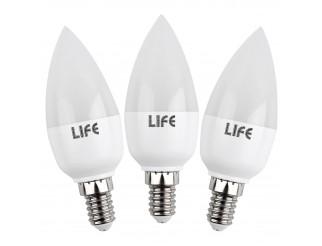 3 Pezzi Lampade Lampadine a Led Luce Calda Attacco E14 Candela LIFE 5,5 WATT