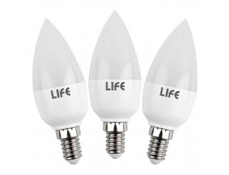 3 Pezzi Lampade Lampadine a Led Luce Fredda Attacco E14 Candela LIFE 5,5 WATT