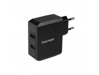 Caricabatterie Universale Parete 2 Porte USB 3,4A Smartphone Tablet Nero