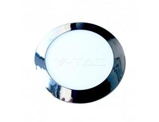 V-TAC 12w pannello led sottile cromo rotondo bianco naturale 4000k