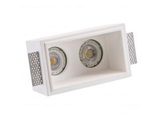 Faretto rettangolare in gesso incasso ISYLUCE doppia lampadina 2 GU10