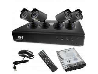 Kit DVR Videosorveglianza 4 Canali LIFE Completo 4 Telecamere 800 TVL Hard disk