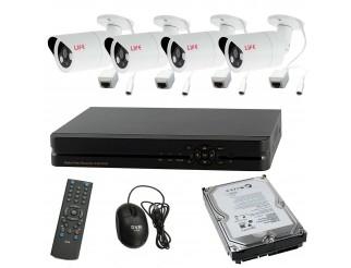 Kit NVR DVR Videosorveglianza 4 Canali Telecamera IP HD 720P LIFE HDD 1 Tera