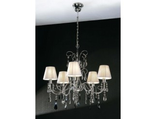 EXCLUSIVE LIGHT IMPERIAL LAMPADARIO IN METALLO CROMATO E CRISTALLI CON PARALUMI