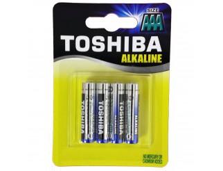Blister 4 Batterie Pile Ministilo AAA TOSHIBA Alkaline Alcaline Blue Line LR03