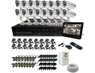 KIT DVR 16 TELECAMERA VIDEOSORVEGLIANZA LAN 48 LED MONITOR BALUN IPHONE ANDROID