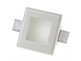 Porta Faretto Fisso in Gesso ad Incasso Led Quadrato Vetro GU10 12x12 cm Isyluce