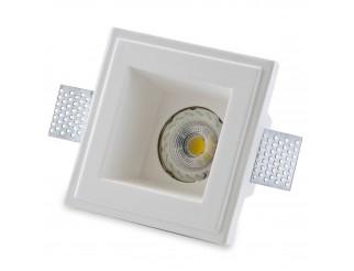 Porta Faretto Fisso in Gesso Incasso Lampadine Led Quadrato GU10 12x12cm Isyluce