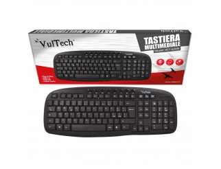 TASTIERA PER PC COMPUTER CON CAVO USB KEYBOARD MULTIMEDIALE VULTECH KEY-620M NEW