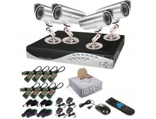 KIT DVR 4 CANALI TELECAMERE TELECAMERA CCD 48 LED VIDEOSORVEGLIANZA LAN BALUN
