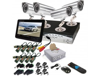 KIT DVR 4 TELECAMERA VIDEOSORVEGLIANZA LAN 48 LED MONITOR BALUN IPHONE ANDROID