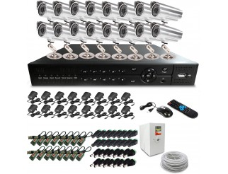 KIT DVR 16 CANALI CH LAN VIDEOSORVEGLIANZA 48 LED TELECAMERA CCD IPHONE ANDROID