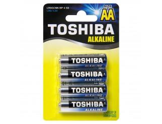 Blister 4 Batterie Pile STILO AA TOSHIBA Alkaline Alcaline Blue Line LR6 1.5V